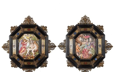 Two Framed Capodimonte Painted Porcelain Plaques with Biblical Scenes