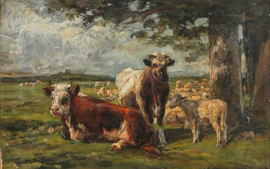 Two cows and a lamb grazing in a meadow 1883...