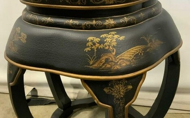 Vintage Painted Wooden Asian Style Garden Stool