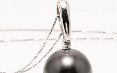 14 kt. White Gold - 11x12mm Round Tahitian Pearl