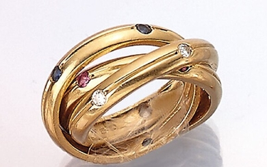 """18 kt gold CARTIER """"Trinity"""" ring with..."""