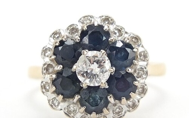 18ct gold sapphire and diamond flower head ring, size L/M, 4...