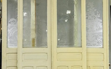 4 Tall Etched Glass Painted Doors