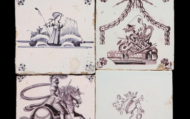 (-), 4 glazed earthenware tiles with manganese colored...