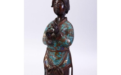 A 19TH CENTURY OR EARLIER CHINESE BRONZE & CLOISONNE FIGURE ...