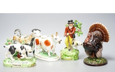 A 19th century 'Milkmaid and cow' creamer with sponged decor...