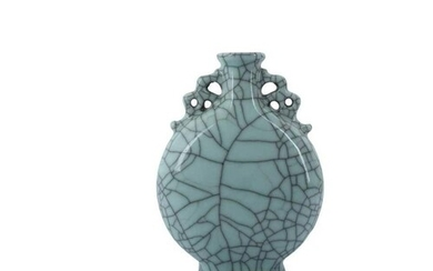 A CHINESE CRACKLE-GLAZED MOON FLASK QING DYNASTY With a flat...