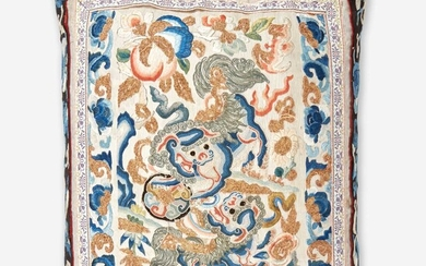 """A Chinese embroidered silk """"Buddhist Lions"""" panel, mounted as a pillow 刺绣太狮少狮画片嵌枕头 The panel Qing Dynasty 画片为清代"""
