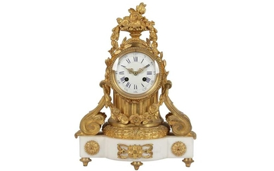 A FRENCH EIGHT DAY GILT BRONZE AND WHITE MARBLE MANTEL CLOCK, 19TH CENTURY