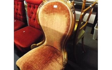 A French walnut framed spoon back chair having serpentine se...