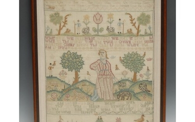 A George II needlework sampler, worked by Ann ** in the 9th ...