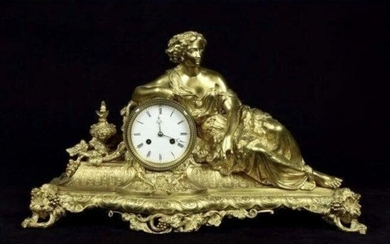 A LARGE FRENCH 19TH CENTURY DORE BRONZE CLOCK