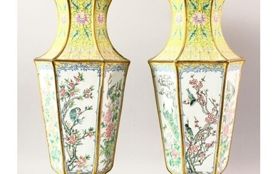 A LARGE PAIR OF CHINESE ENAMEL VASES & STANDS, the vases dec...