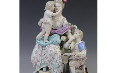 A Meissen porcelain figure group titled 'Love and Reward' by...