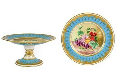 A Minton Porcelain Tazza, circa 1870, painted with a still...