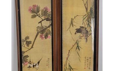 A Pair Handprinted Chinese Painting With Birds Signed