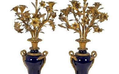 A Pair of Louis XV Style Gilt-Bronze and Cobalt