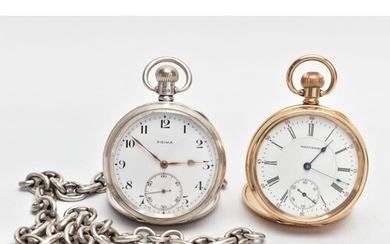 A SILVER OPEN FACE POCKET WATCH, ALBERT CHAIN AND A GOLD-PLA...