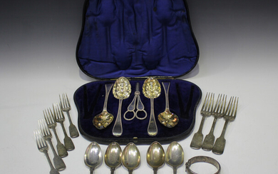 A collection of George IV and later silver Fiddle pattern cutlery, including table forks, dessert fo