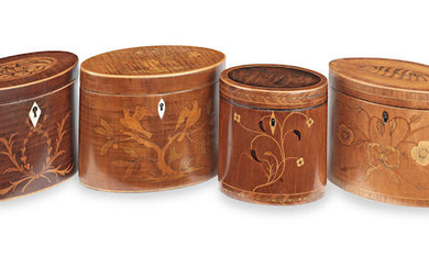 A collection of four George III marquetry inlaid oval wooden tea caddies