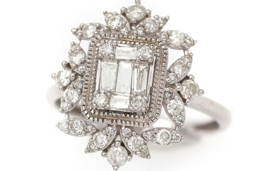 A diamond ring set with numerous baguette- and brilliant-cut diamonds, mounted in 18k white gold. Size 52. – Bruun Rasmussen Auctioneers of Fine Art