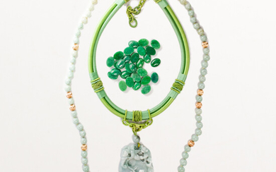 A group of jade necklaces and unmounted stones