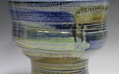 A large Jane Hamlyn studio pottery salt glazed footed bowl, decorated in shades of blue, green and b