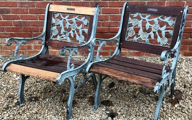 A pair of modern painted cast iron framed 'Berkeley Forge'...
