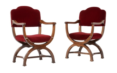 A pair of walnut and red velvet upholstered armchairs