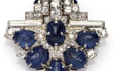 A platinum and 18k white gold Art Deco sapphire and diamond clip, by Cartier