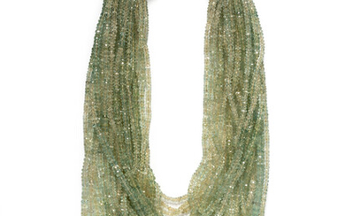 ANGELA PINTALDI, MULTISTRAND GREEN BERYL BEAD NECKLACE