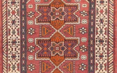 ANTIQUE BEZALEL RUG FROM ISRAEL. 4 ft 3 in x 2 ft 10 in (1.3 m x 0.86 m).