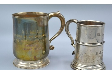 An Edwardian Silver Wasted Mug Sheffield 1909 together with ...