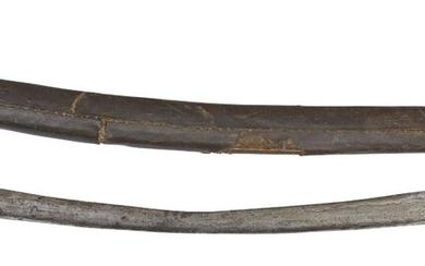 An Ottoman yataghan, North Africa, signed Hasan and dated 1294AH/1877AD, the slightly curved steel blade with silver-inlaid inscription in Ottoman Turkish to the thick spine, also inscribed to the blade in large faded naskh to both sides, near the...