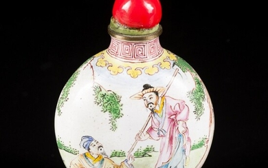 An enamel snuff bottle decorated with figures in a landscape, China, 1st half 20th century....