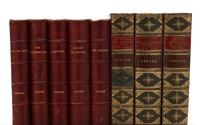 Antique Leatherbound Books by James Fenimore Cooper
