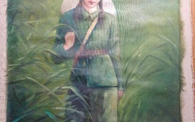 CHINESE OIL PAINTING REVOLUTIONARY GIRL WALKING TH