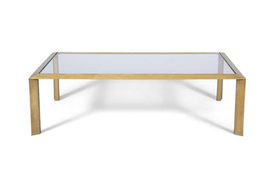 COFFEE TABLE A brass coffee table, with a...