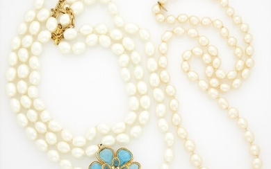 Chanel Two Gilt-Metal, Imitation Glass Pearl, Gripoix and Strass Necklaces