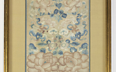 Chinese embroidered panel with peony blossoms, bats and scroll clouds, mounted and framed
