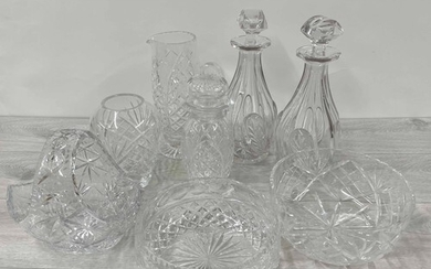 Collection of cut glass table wares