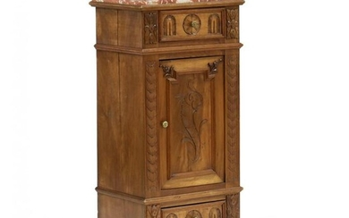 Continental Carved Walnut Marble Top Side Cabinet