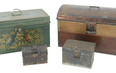 Four Painted Tole Boxes to include large dome top with