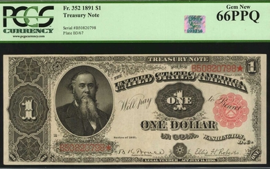 Fr. 352. 1891 $1 Treasury Note. PCGS Currency Gem New 66 PPQ.