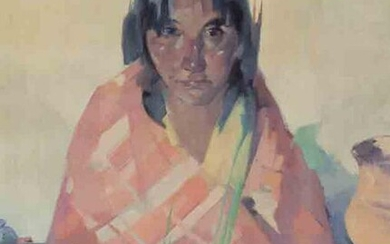 """Hans Paap """"Young Indian"""" oil on canvas"""