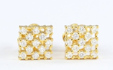 IGI Certified 14 K Yellow Gold Diamond Earring Studs