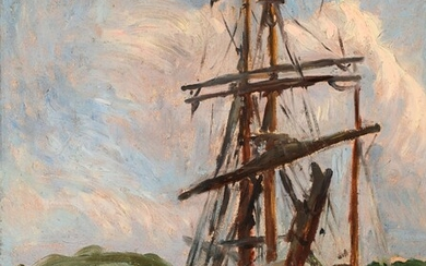 """Jean FRELAUT (1879-1954) (attributed to) """"Two masts at the quay"""" hsp 41.5x32.5"""