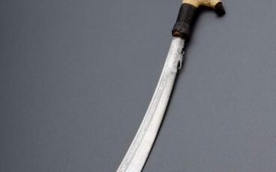"""Jimpul"" sword of the Dayak (headhunters) with richly carved bone..."