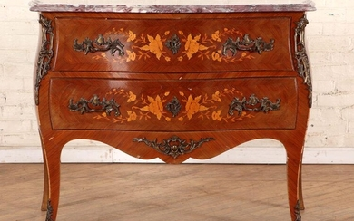LOUIS XV STYLE INLAID MARBLE TOP COMMODE C.1940