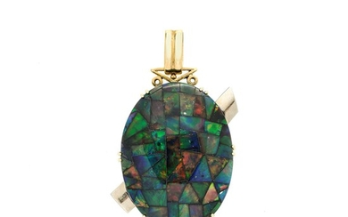 Large pendant in yellow gold, white gold and opal doublet